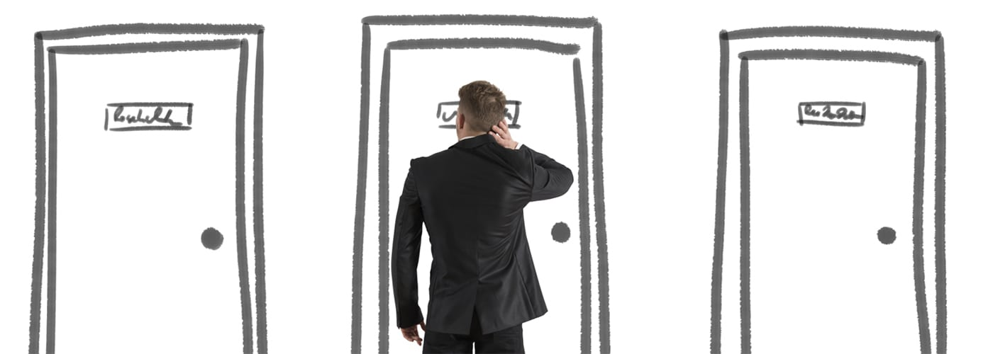 A man choosing which door to enter