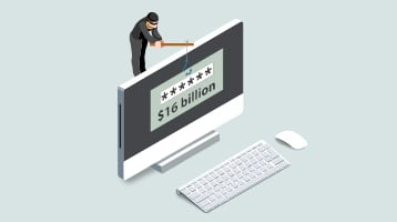 Illustration of an identity thief leaning over a computer screen reeling in $16 billion dollars.