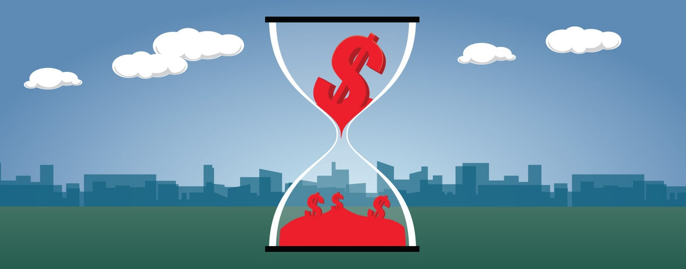 Illustration of money trickling down in an hourglass