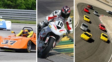 motorcycle and sports car on race tracks