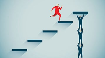 illustration of man running up steps being held by others