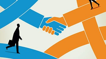 Illustration of shaking hands