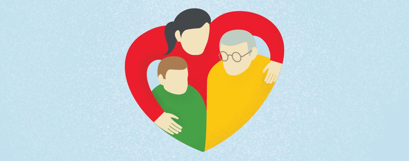 illustration of three generations