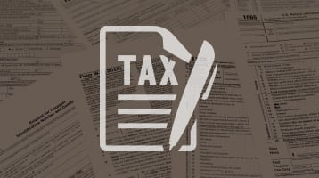 Illustration of a pen and paper that says tax