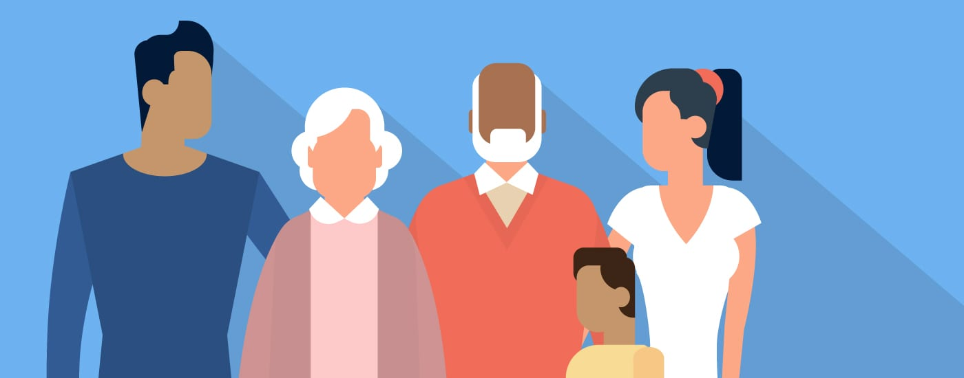 Image depicts multiple generations through an illustration of grandparents, parents, and a child next to the words Does Your Generation Define What Matters to You?
