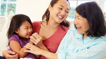 Mother, daughter, and granddaughter enjoy quality time together.