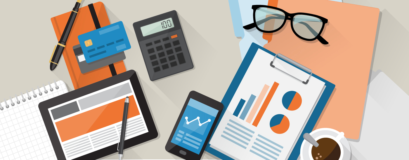 Illustration of a desk with the following items on it: glasses, folders, a mobile phone, credit card, a tablet, and a coffee cup.