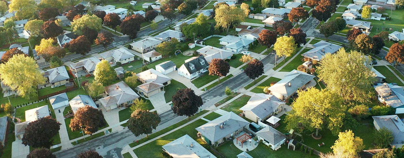 An aerial view of a subdivision.